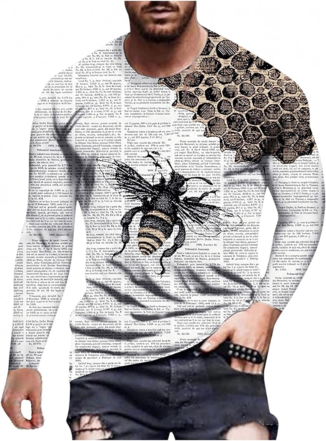 Aayomet Men's Tee Shirts Fashion Graphic Printed Tops Casual Athletic Long Sleeve Pullover T-Shirts Blouses for Men