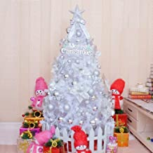 JGWJJ 6 Foot White Iridescent Tinsel Tree Christmas Artificial Pine Tree Full Branches with Plastic Stand and 8M LED Light...