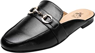 Ashley A Womens Fashion Casual Slip On Low Heeled Mules Loafer Flat Slides Sandals Shoes