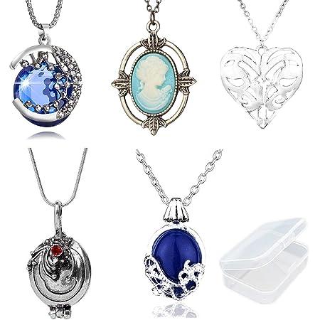PPX 5 Piezas Daywalking Katherine Necklace - Verbena Necklace Chain Can Open Silver Costume Accessory - con Caja de Almacenamiento Transparente
