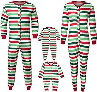 POLP Mameluco Mujer Hombre Niños Bebe Pijamas Familiares de A Rayas Monos Botones Padres e Hijos Pijama Party Ropa de Dormir Mamá papá y Yo Pijamas de una Pieza