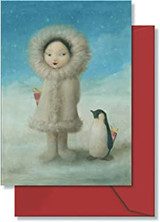 Elegant Glitter Accent Secret Santa Eskimo Girl with Penguin and Gifts Holiday Cards - 3.5 X 5 Inch Red Envelopes- (12)