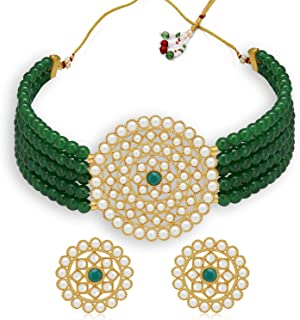 Sukkhi Incredible Gold Plated Green Pearl Choker Necklace Set for Women (SKR70042)