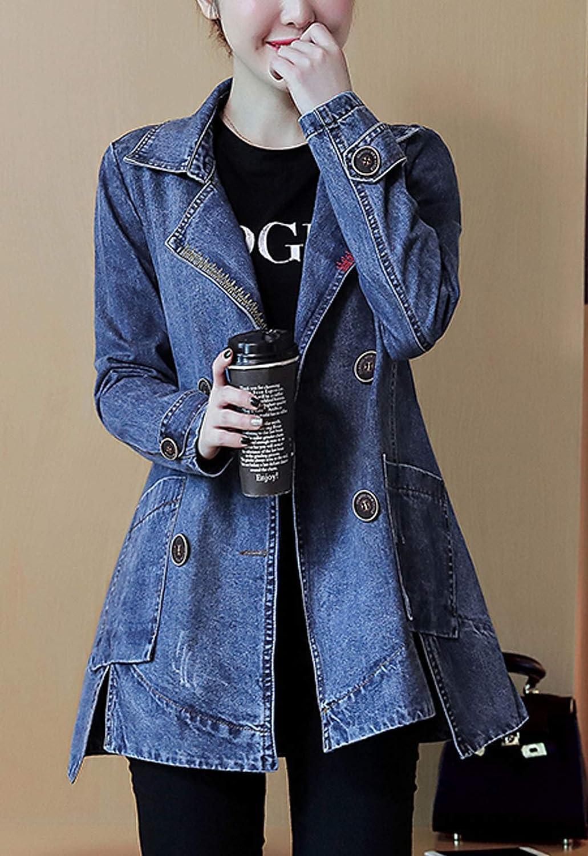 Flygo Women's Vintage Lapel Double-Breasted Mid-Long Denim Jean Jacket Coats