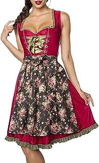Dirndline Luxus Designer Dirndl mit Schürze Kleid Dirndkleid Oktoberfest Tracht Trachtenkleid Spitze Denim Blumenprint Paspelierung Rüschen