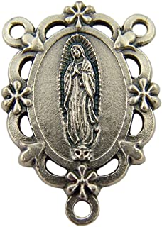 L&M Zinc Alloy Our Lady of Guadalupe Floral Rosary Centerpiece Medal, 1 1/4 Inch