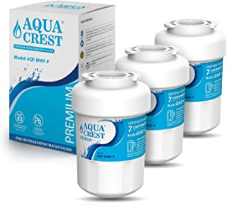 AQUACREST MWF Refrigerator Water Filter, NSF 53&42 Certified to Reduce 99% of Lead, Cyst & More, Compatible with GE SmartWater MWFP, MWFA, GWF, HDX FMG-1, WFC1201, GSE25GSHECSS, PC75009 (Pack of 3)