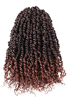 ToyoTress 8 Packs Tiana Pre-Twisted Passion Twist Hair Pre-Looped Passion Twists Crochet Braids Made Of Bohemian Hair Synthetic Braiding Hair Extension (14 Inch, T1B/30)