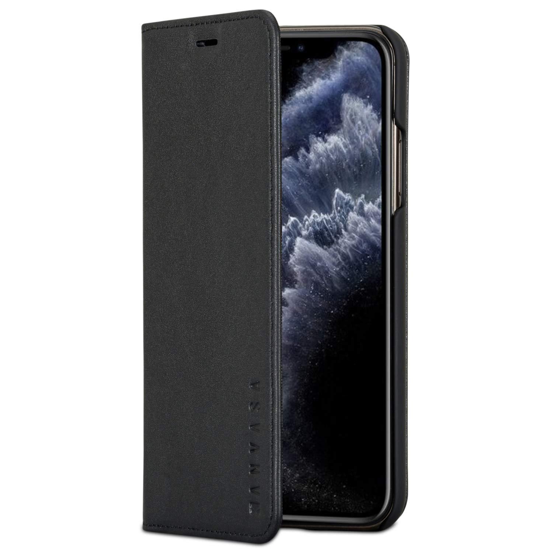 KANVASA Funda iPhone 11 Pro MAX Tipo Libro Piel Negro Case Cover Carcasa Plegable Cartera Pro en Piel Auténtica Premium para Apple iPhone 11 (6.5