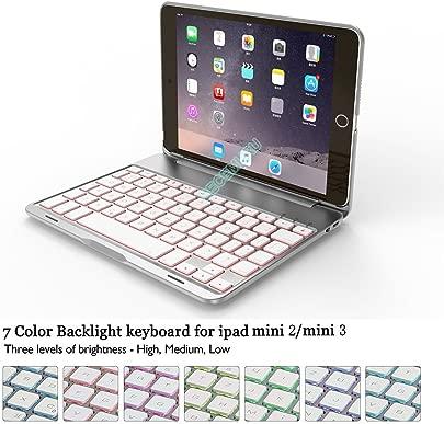 Becemuru Schutzh lle f r iPad Mini2 iPad Mini3  7-farbige Hintergrundbeleuchtung  kabellose Bluetooth-Tastatur  Folio-Schutzh lle f r 7 9 Zoll iPad Mini2 iPad Mini3