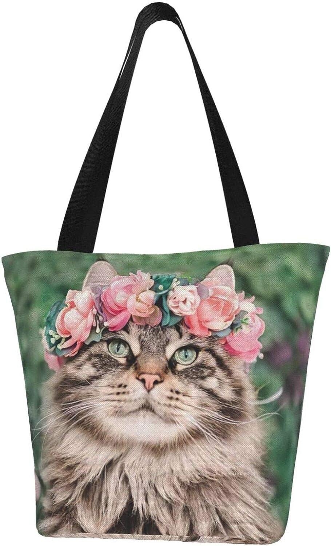 Floral Norwegian Forest Cat Flowers Themed Printed Women Canvas Handbag Zipper Shoulder Bag Work Booksbag Tote Purse Leisure Hobo Bag For Shopping