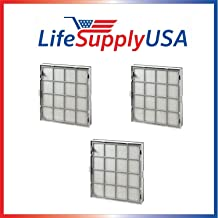 LifeSupplyUSA Complete Cassette Replacement Cartridge Filter Sets (3) Compatible with Kenmore EnviroSense Air Cleaner Model 85500, Part # 85510