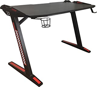 YULUKIA 100033 Z-vormig PC-computer-gaming-bureau zonder LED-verlichting, gaming-tafels Pro met bekerhouder en hoofdtelefo...
