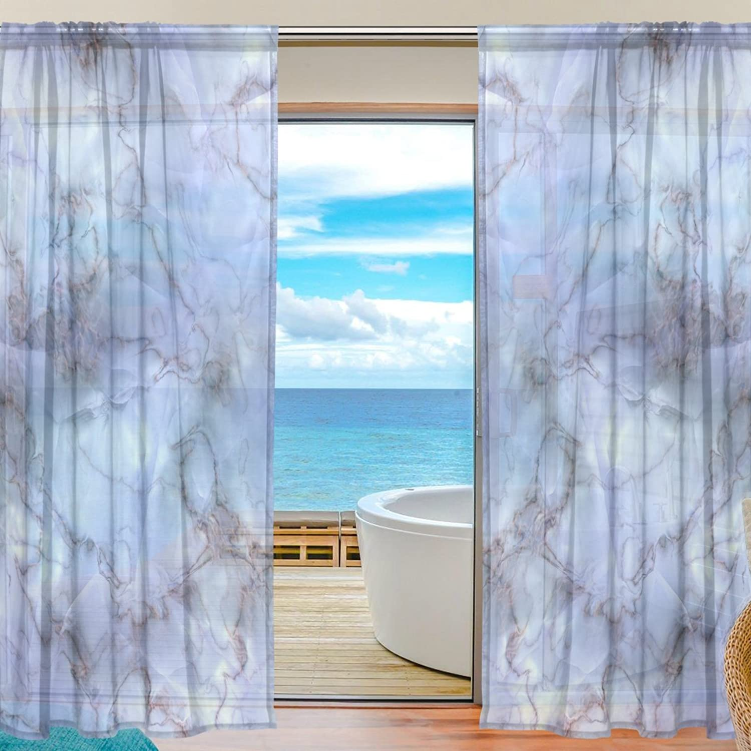 Vantaso Sheer Curtains 78 inch Long Marble Pattern for Kids Girls Bedroom Living Room Window Decorative 2 Panels