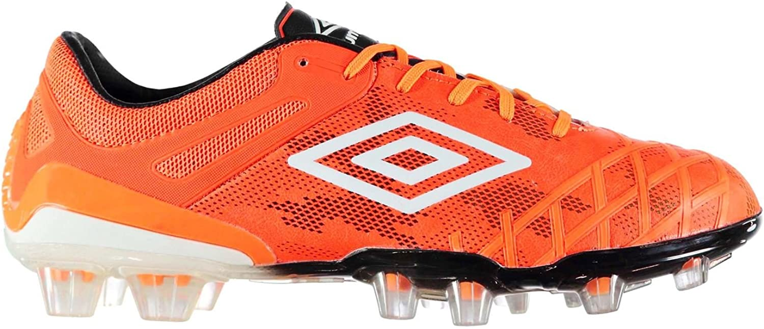 Umbro Mens UX 2.0 Pro HG Football Boots Firm Ground Lace Up Padded Ankle Collar orange White UK 8.5 (42.5)