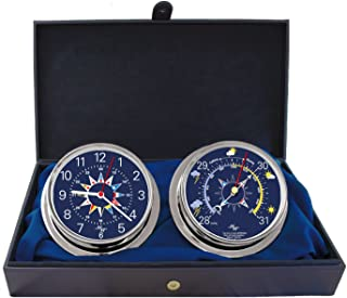 "MASTER-MARINER Blue Mariner Collection, Nautical Cabin Gift Set, 5.75"" Diameter Clock and Barometer Instruments, Chrome Finish, Blue Signal Flag dial"