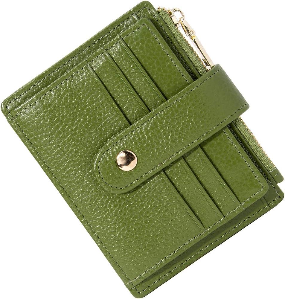 Btneeu, portafroglio, porta carte di credito, per donna, in pelle verde