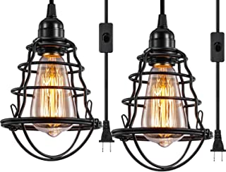 Industrial Plug in Pendant Light Vintage Hanging Cage Pendant Lighting E26 E27 Mini Pendant Light Edison Plug in Light Fixture On/Off Switch