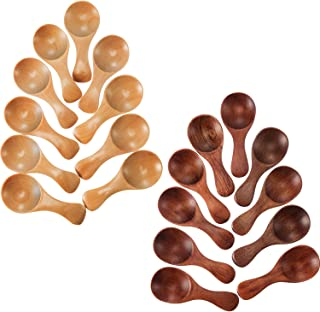 Leinuosen 20 Pieces Small Wooden Spoons Mini Condiments Sugar Seasoning Salt Honey Teaspoon Coffee Tea Jam Mustard Ice Cream Wood Spoons