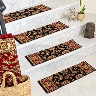 Natural Area Rugs Sydney, Polypropylene Black, Handmade Stair Treads Carpet Set of 13 (9