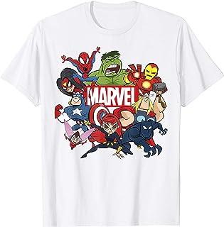Marvel Avengers Cartoon Action Collage Group Shot Maglietta