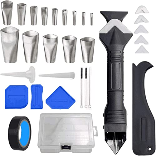 lowest MGGi 6 in 1 Silicone Caulking Tools, Stainless Steelhead Caulking Finisher Tools Kit, discount 32Pcs Caulking Finisher Nozzles, Reusable Sealant Finishing Caulk Scrapers for Kitchen outlet sale Bathroom Window, Sink Joint online sale