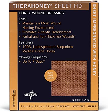 "Medline MNK0082 TheraHoney HD Honey Dressings, 2"" x 2"" (Pack of 10)"