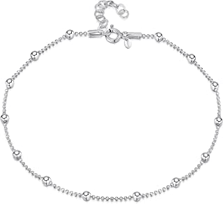 """Amberta 925 Sterling Silver Adjustable Anklet - Classic Chain Ankle Bracelets - 9"""" to 10"""" inch - Flexible Fit"""