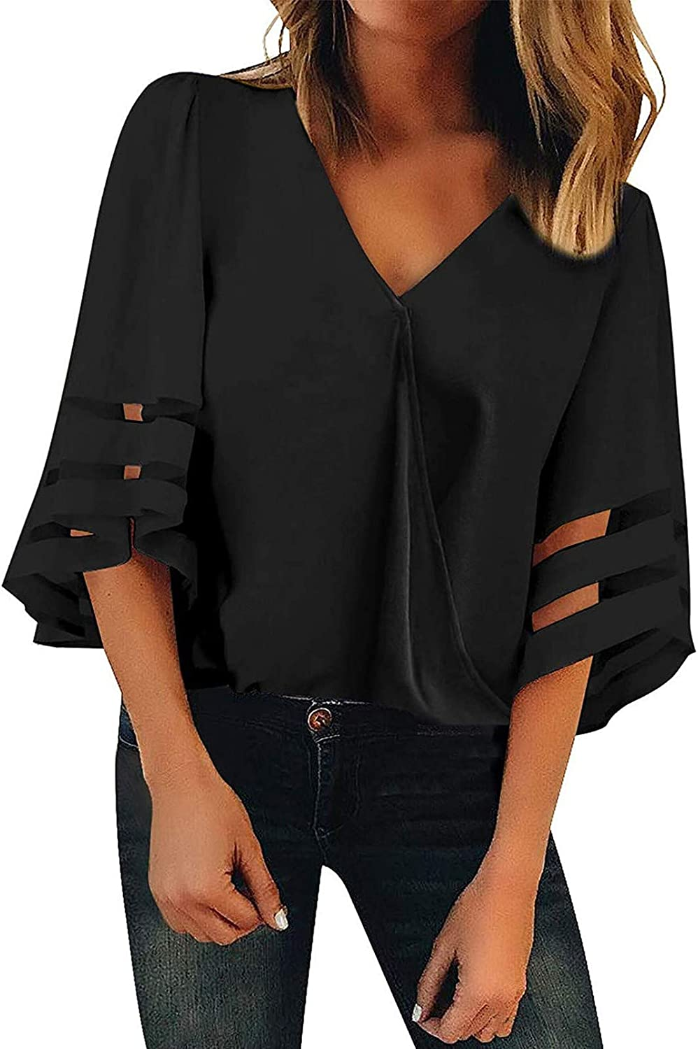 Women's V Neck Mesh Panel Blouse 3 store Seattle Mall 4 Bell Top Sleeve Shirt Loose