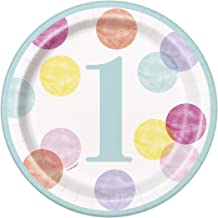 Unique Party 73284 18cm Pink Dots 1st Birthday Paper Plates, Pack of 8