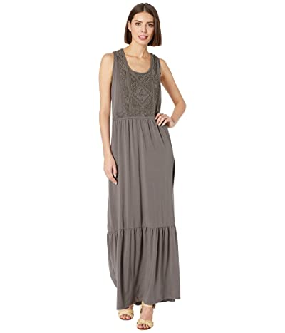 Mod-o-doc Embroidered Maxi Tank Dress in Cotton Modal Spandex Jersey (Stone) Women