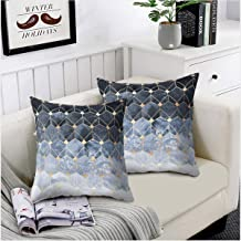 Convallaria Christmas Soft Throw Pillows Covers for Couch Sofa 18 x 18 inch Decorative Cases for Bed Cushion Covers Set for Bedroom, Living Room, Couch (Blue Gradient Cubes Theme Set of 2)