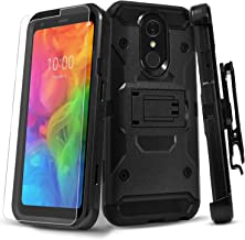 STARSHOP Revvl 2 Phone Case (T-Mobile) with [Tempered Glass Screen Protector Included], [NOT for REVVL 2 Plus] Full Cover Heavy Duty Dual Layers Phone Cover with Kickstand and Locking Belt Clip-Black