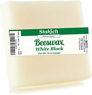 Stakich White Beeswax Block - Natural, Cosmetic Grade - 1 Pound