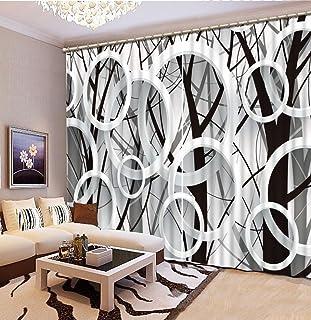 Wapel Moderne 3D Filialen Kreis Fenster Vorhang Schwarz Und Weiß  3D Blackout Vorhang Für
