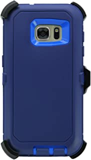 WallSkiN Turtle Series Cases for Samsung Galaxy S7 (Only) Tough Protection with Screen Protector & Kickstand & Holster - Midnight (Navy Blue/Blue)