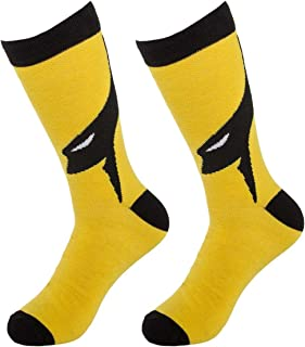 (1 Pair) Superhero Socks Men's Crew, Colorful Comic-Book Characters, Fits Shoe Size 8-12, Cape Superhero Socks