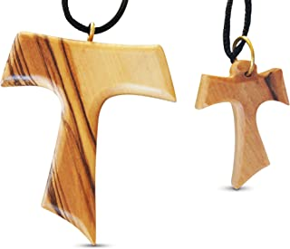 2-Piece Tau Cross Large & Small Olive Wood Necklaces Made in Bethlehem by Novel Merk