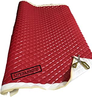 "LUVFABRICS Red Faux Leather Quilted Vinyl Fabric with 3/8"" Foam Backing Upholstery"