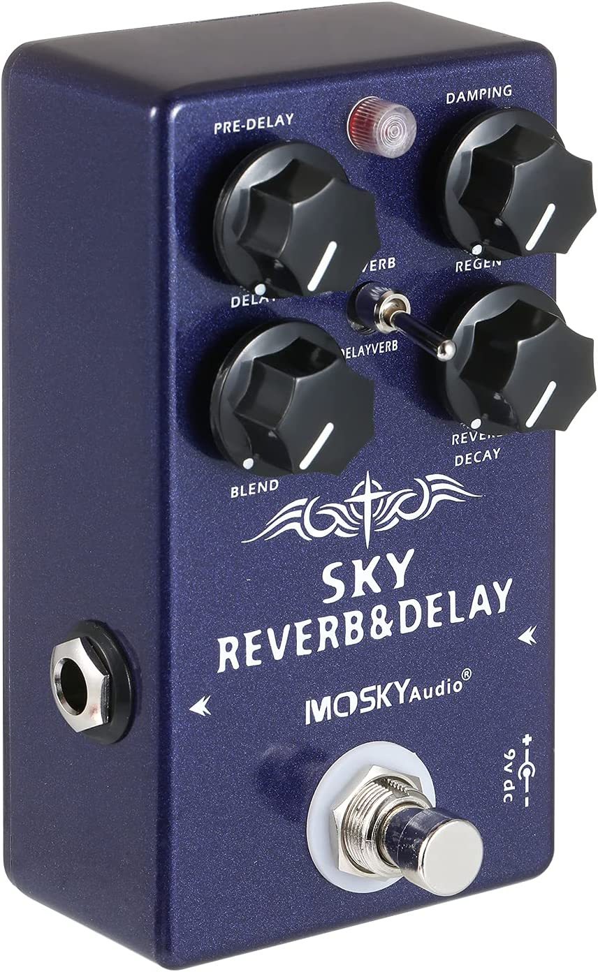 summina Audio 2 en 1 Digital Reverb & Retraso Efectos Pedal Pedal de Efecto de Guitarra con True Bypass Switch para Guitarra Eléctrica Bajo