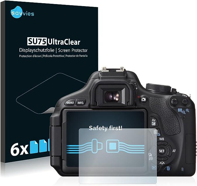 savvies Protector Pantalla Compatible con Canon EOS 600D (6 Unidades) Pelicula Ultra Transparente