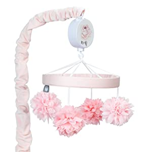 Lambs & Ivy Signature Botanical Baby Pink Floral Musical Baby Crib Mobile