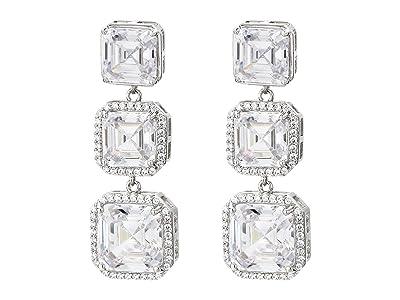 Nina Haloed Asscher CZ Drop Earrings (Rhodium/White) Earring