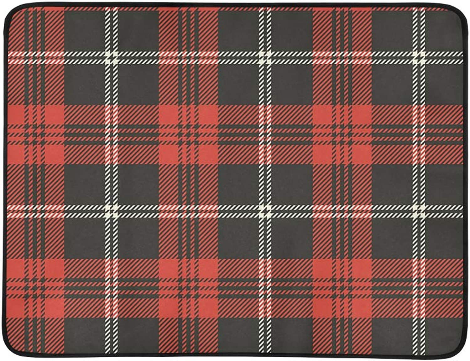 Black and Red Plaid with White Stripe Pattern Portable and Foldable Blanket Mat 60x78 Inch Handy Mat for Camping Picnic Beach Indoor Outdoor Travel