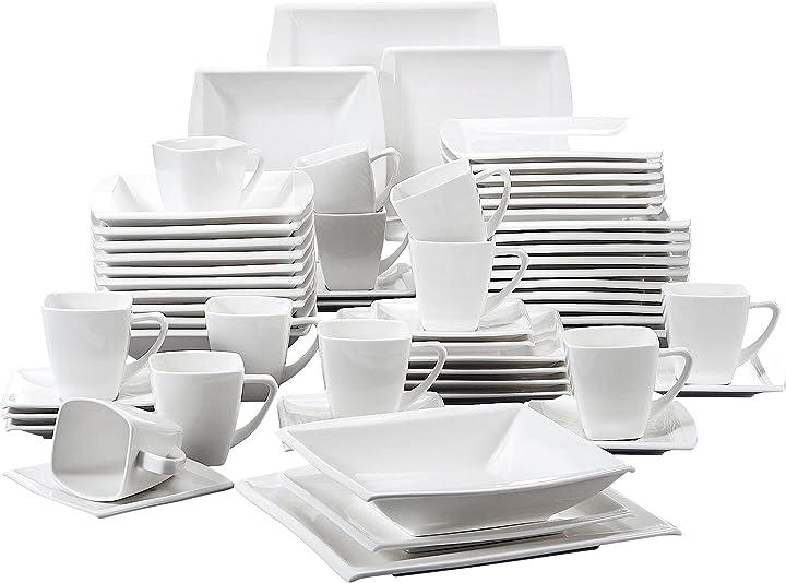 Servizio da tavola in porcellana bianca crema set 60 pezzi malacasa serie blance BEA-IT-BL-30*2