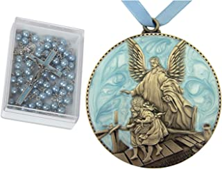 Baby Baptism Gifts for Boys   Set of Blue Rosary and Guardian Angel Crib Medal