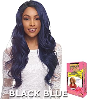Janet Collection Brazilian Scent Human Hair Blend Lace Wig - ASTIN (BLACK PURPLE)