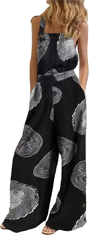 Elegant Women's Casual Boho Floral Sleeveless Plus Bib Pants Max 57% OFF Loose Long