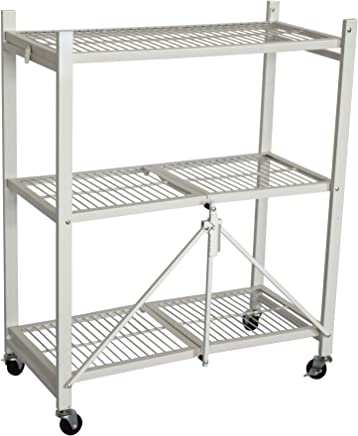 Caesar Hardware Foldable 3-Shelf Shelving Unit Storage Rack on Wheels, MD-3 White