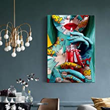 JRTF Modern Graffiti Street Art Sex Women Posters and Prints Canvas Painting Wall Pictures for Living Room Bedroom Cuadros Decor-60X90Cm Frameless